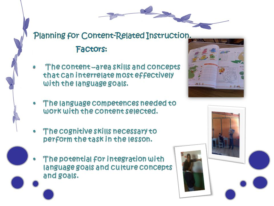 Planning for Content-Related Instruction.