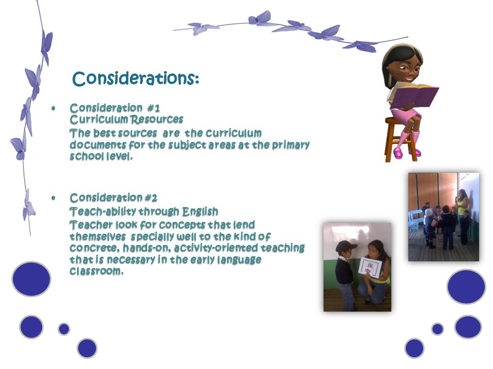 Considerations: Consideration #1 Curriculum Resources