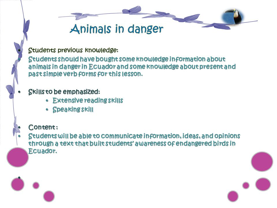 Animals in danger Students previous knowledge: