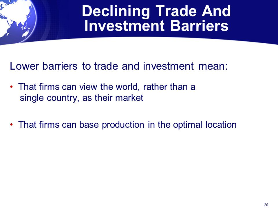 Declining Trade And Investment Barriers