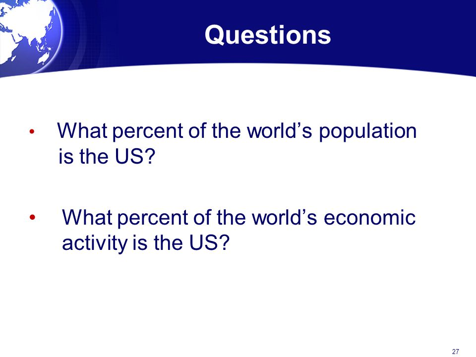 Questions What percent of the world's economic activity is the US