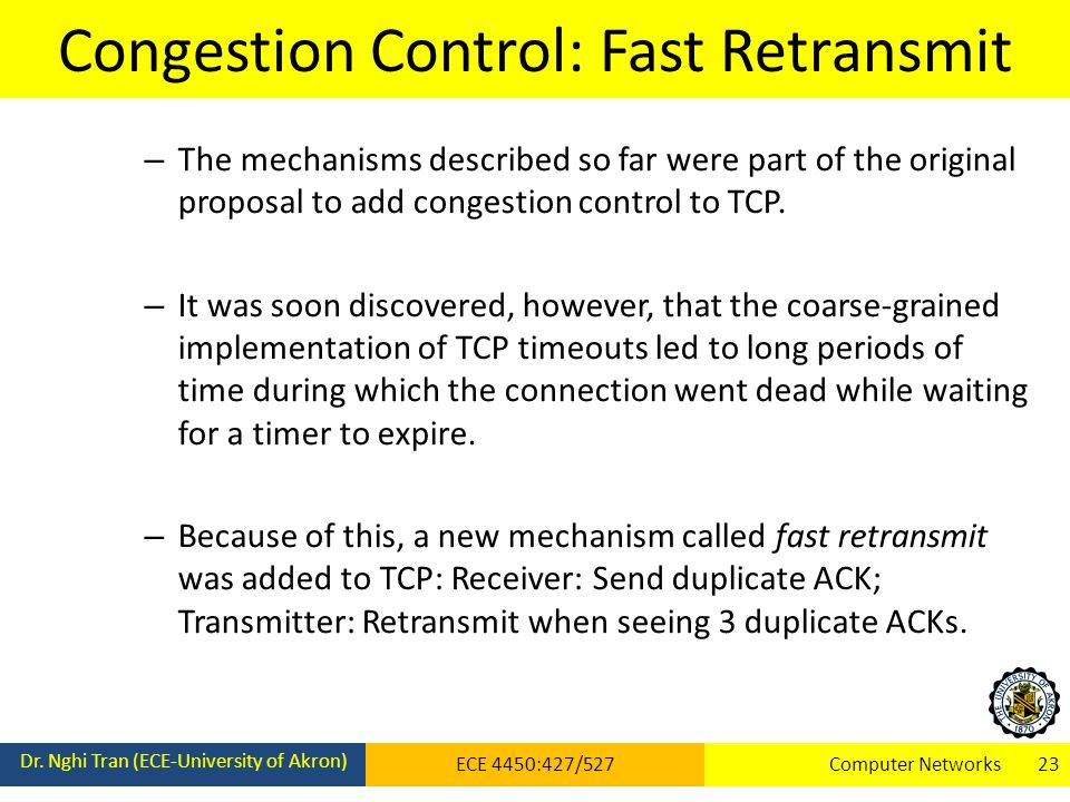 Congestion Control: Fast Retransmit