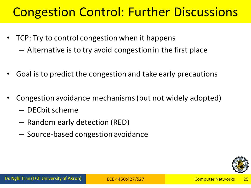 Congestion Control: Further Discussions