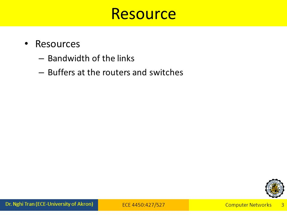 Resource Resources Bandwidth of the links