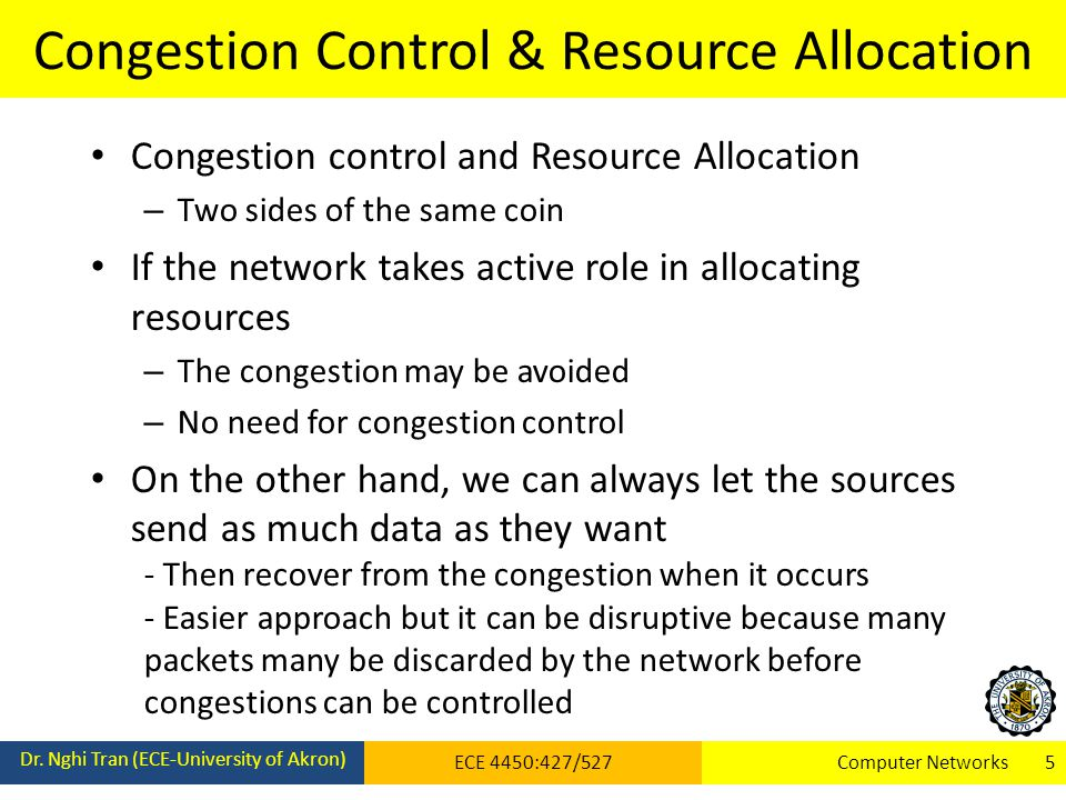 Congestion Control & Resource Allocation