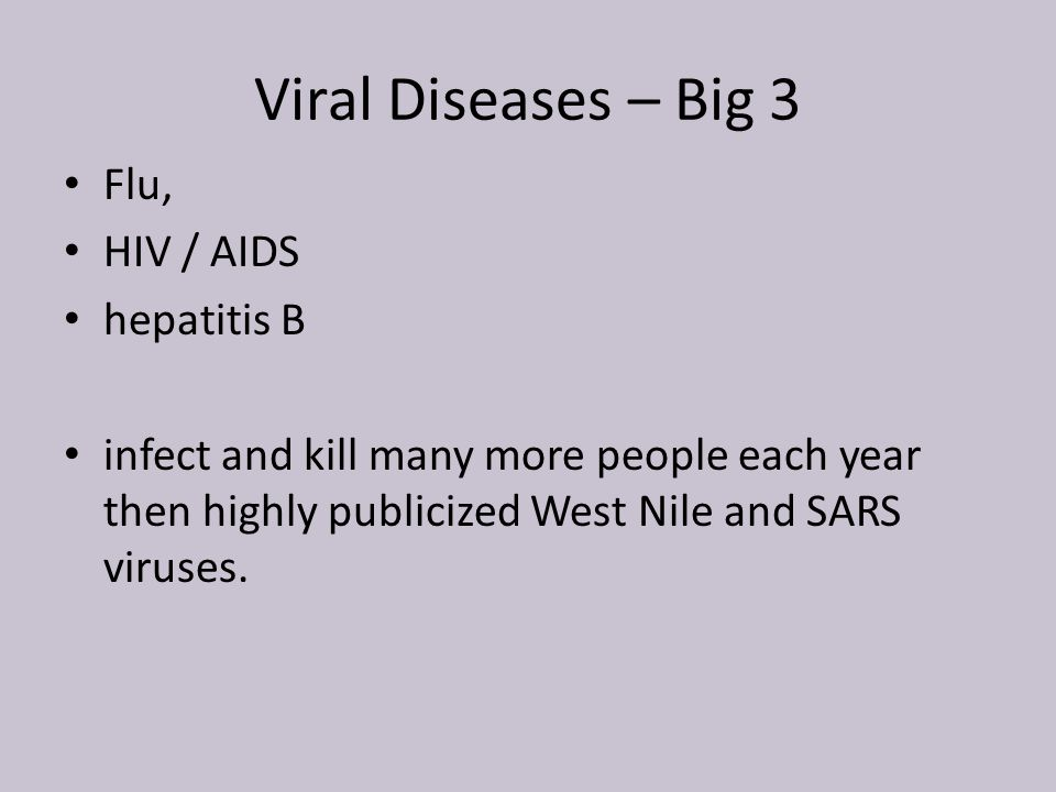 Viral Diseases – Big 3 Flu, HIV / AIDS hepatitis B