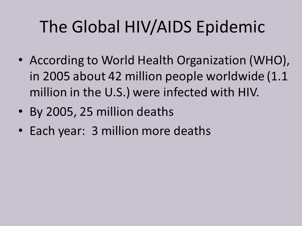 The Global HIV/AIDS Epidemic