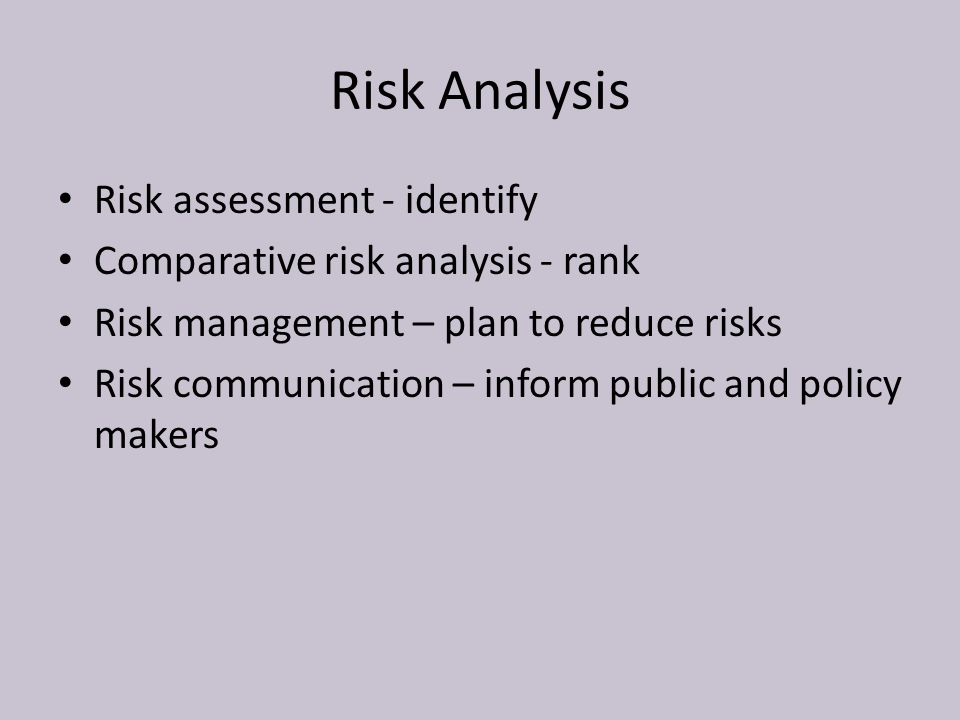 Risk Analysis Risk assessment - identify