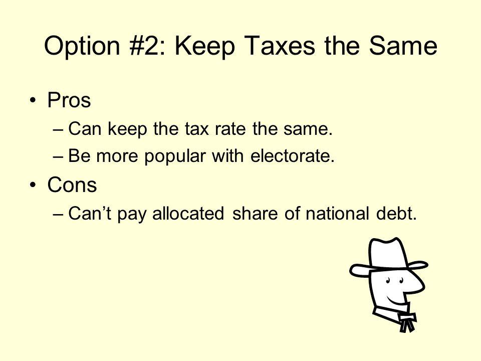Option #2: Keep Taxes the Same