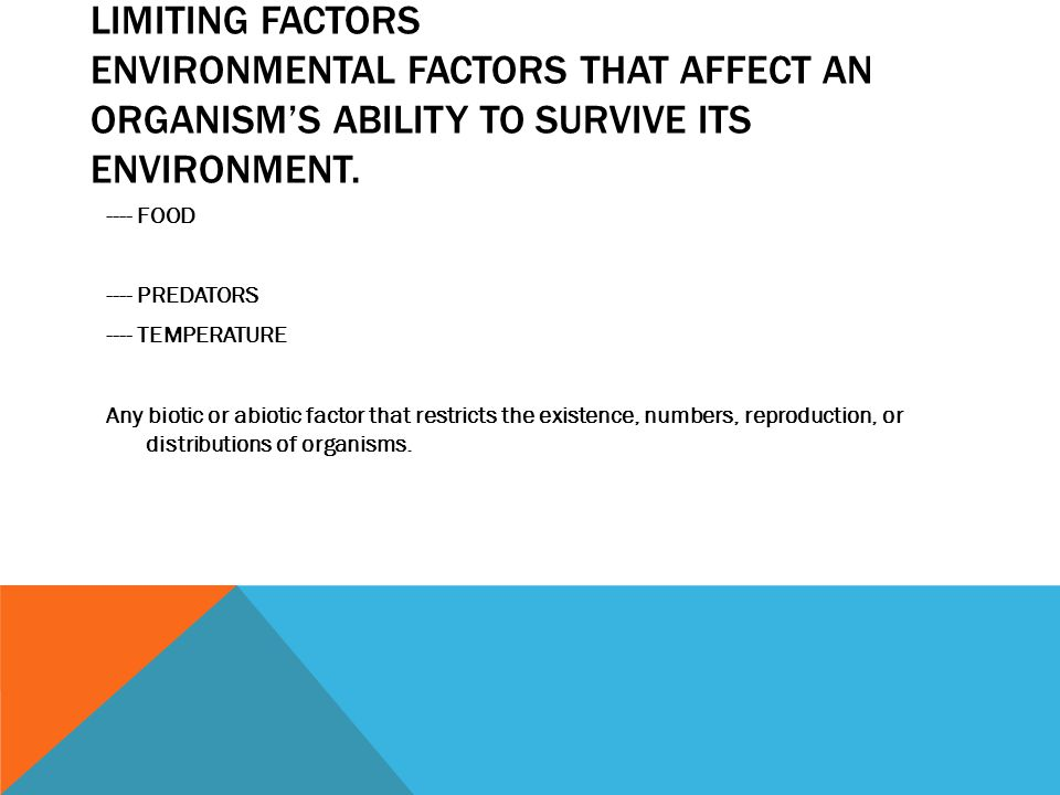 LIMITING FACTORS Environmental factors that affect an organism's ability to survive its environment.