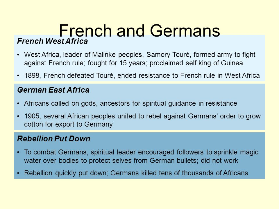 French and Germans French West Africa German East Africa