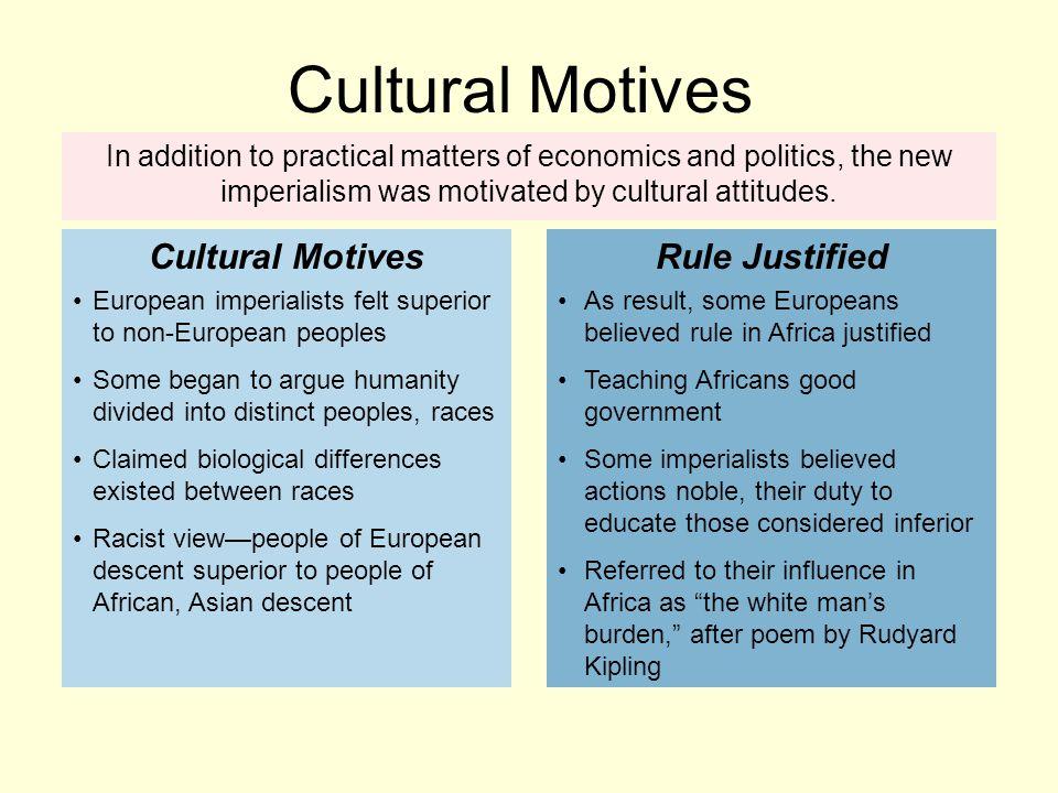 Cultural Motives Cultural Motives Rule Justified