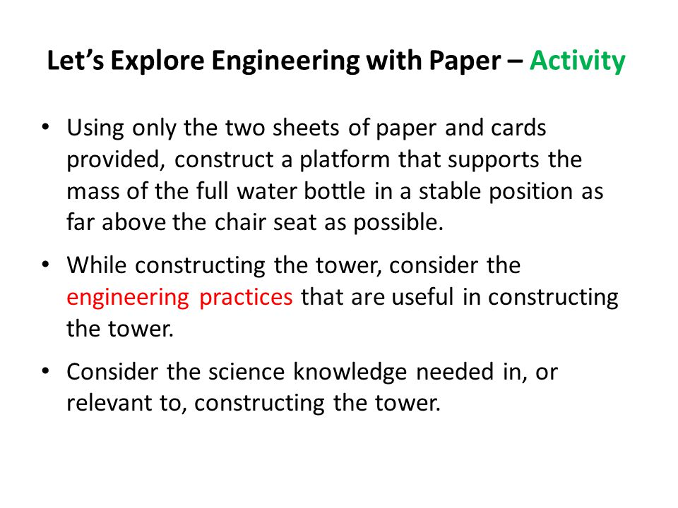 Let's Explore Engineering with Paper – Activity