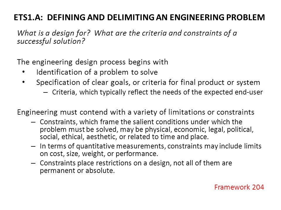 ETS1.A: DEFINING AND DELIMITING AN ENGINEERING PROBLEM