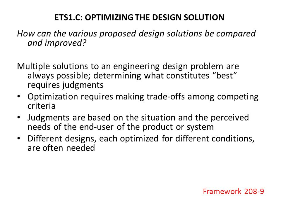 ETS1.C: OPTIMIZING THE DESIGN SOLUTION