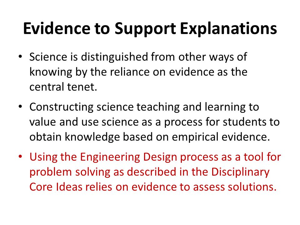 Evidence to Support Explanations