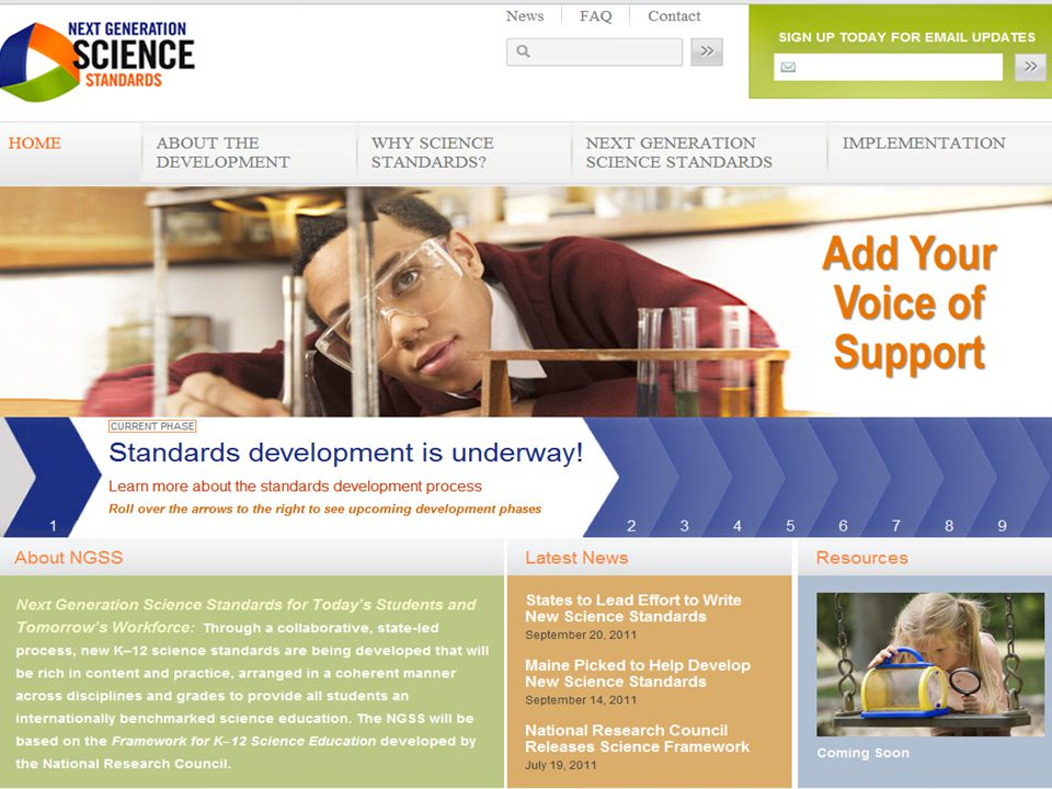 Summary Where to find current information on the development of the Next Generation Science Standards.