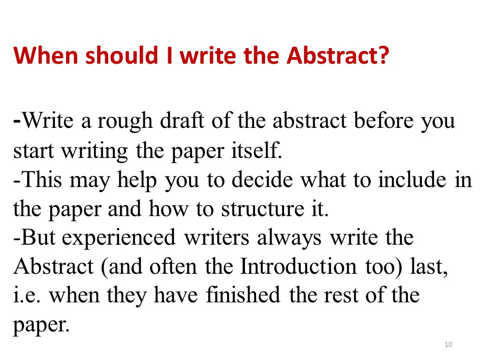 When should I write the Abstract