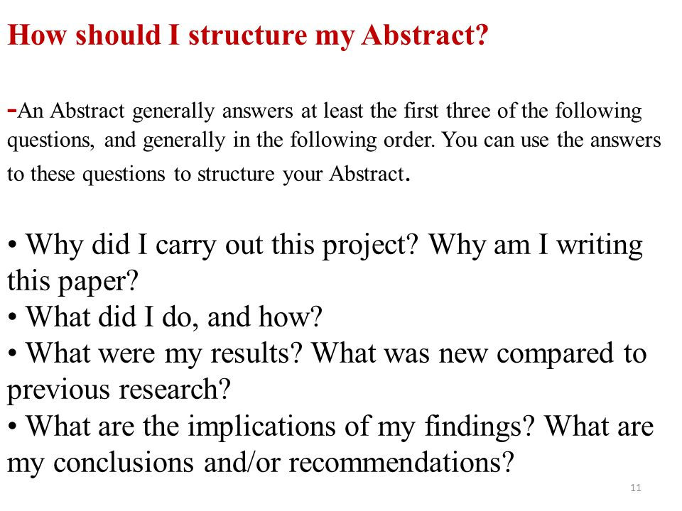 How should I structure my Abstract