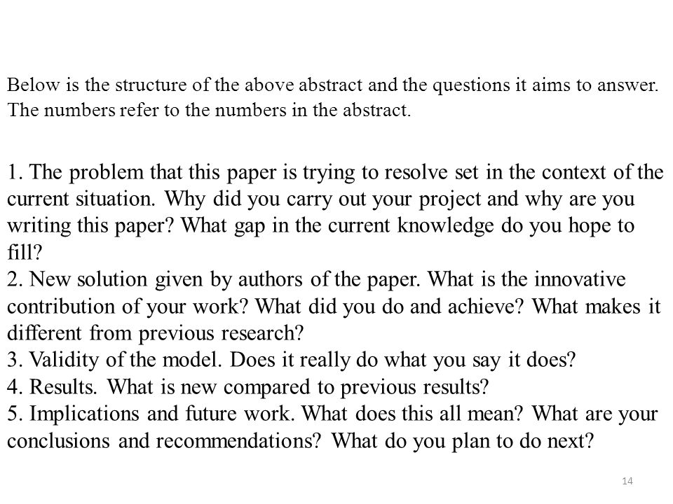 Below is the structure of the above abstract and the questions it aims to answer.