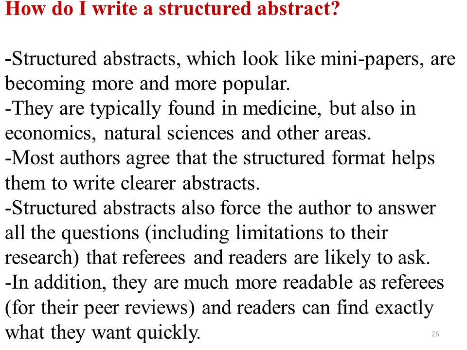 How do I write a structured abstract
