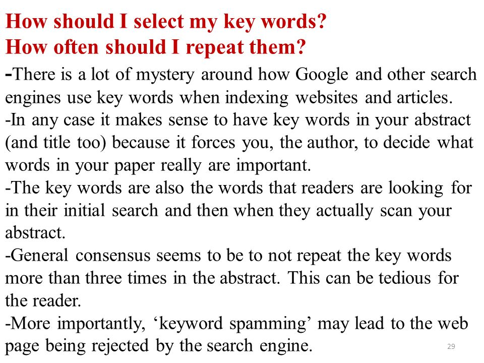 How should I select my key words. How often should I repeat them