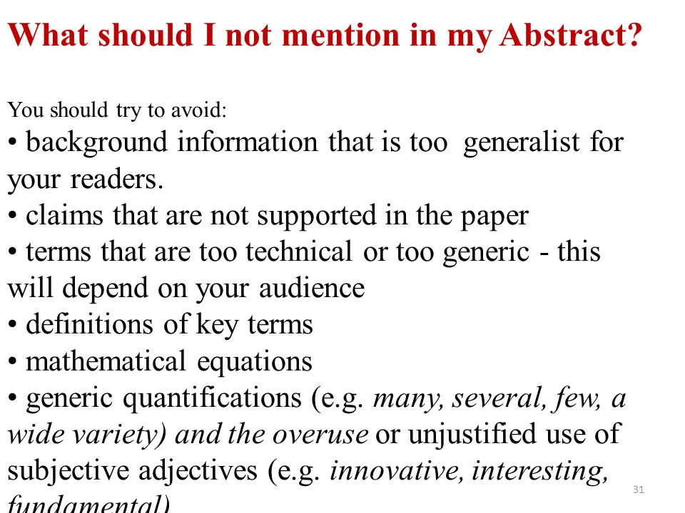 What should I not mention in my Abstract