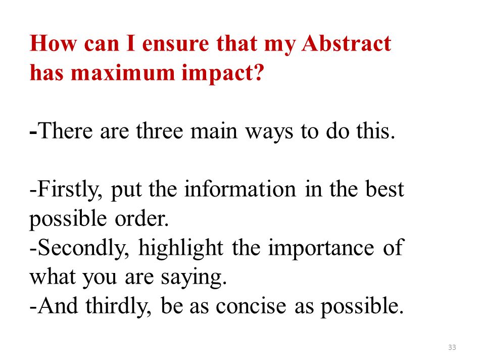 How can I ensure that my Abstract has maximum impact