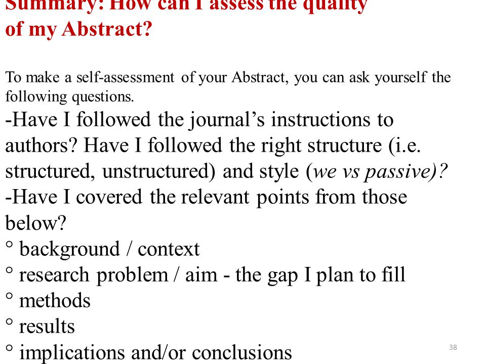 Summary: How can I assess the quality of my Abstract