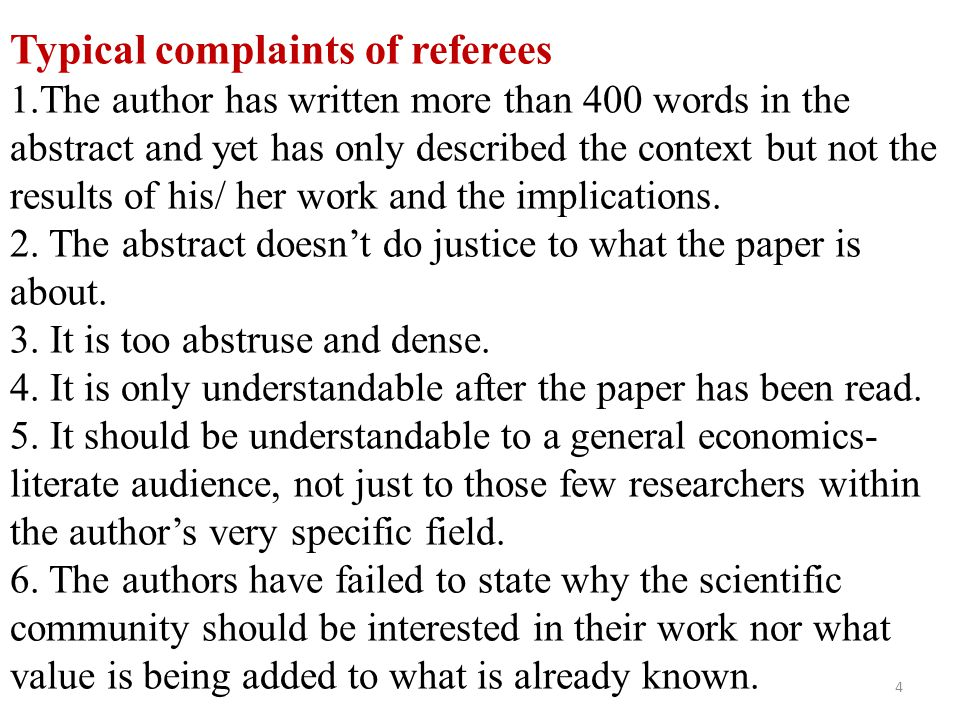 Typical complaints of referees 1