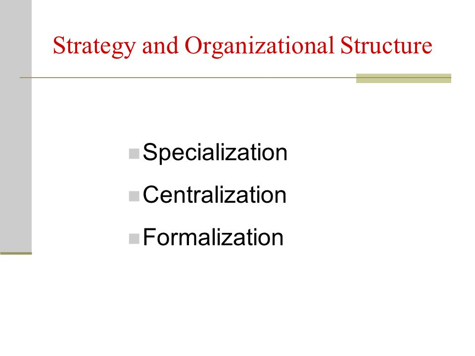 Strategy and Organizational Structure