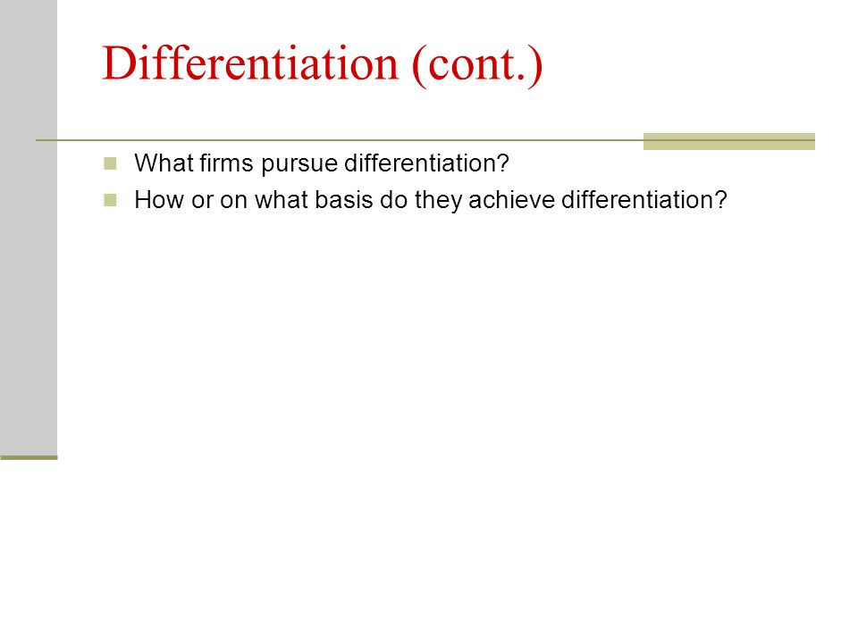 Differentiation (cont.)