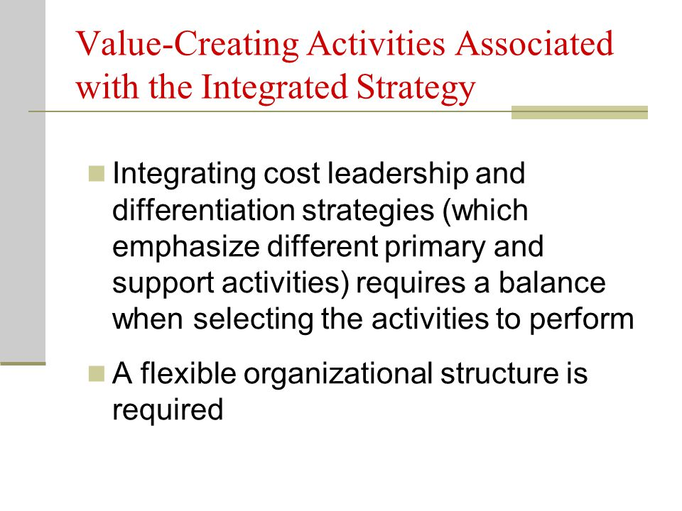 Value-Creating Activities Associated with the Integrated Strategy