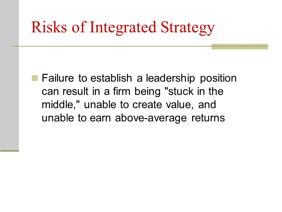 Risks of Integrated Strategy
