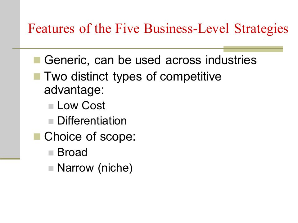Features of the Five Business-Level Strategies