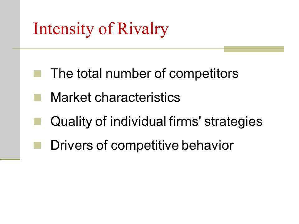 Intensity of Rivalry The total number of competitors
