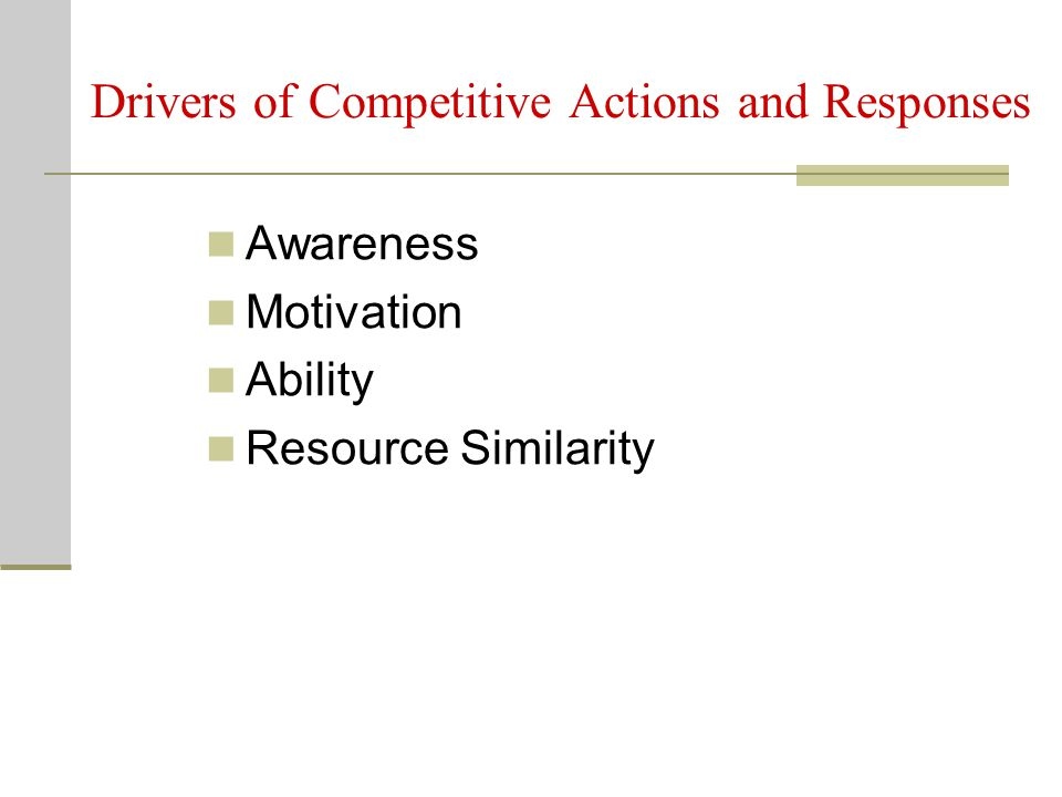 Drivers of Competitive Actions and Responses