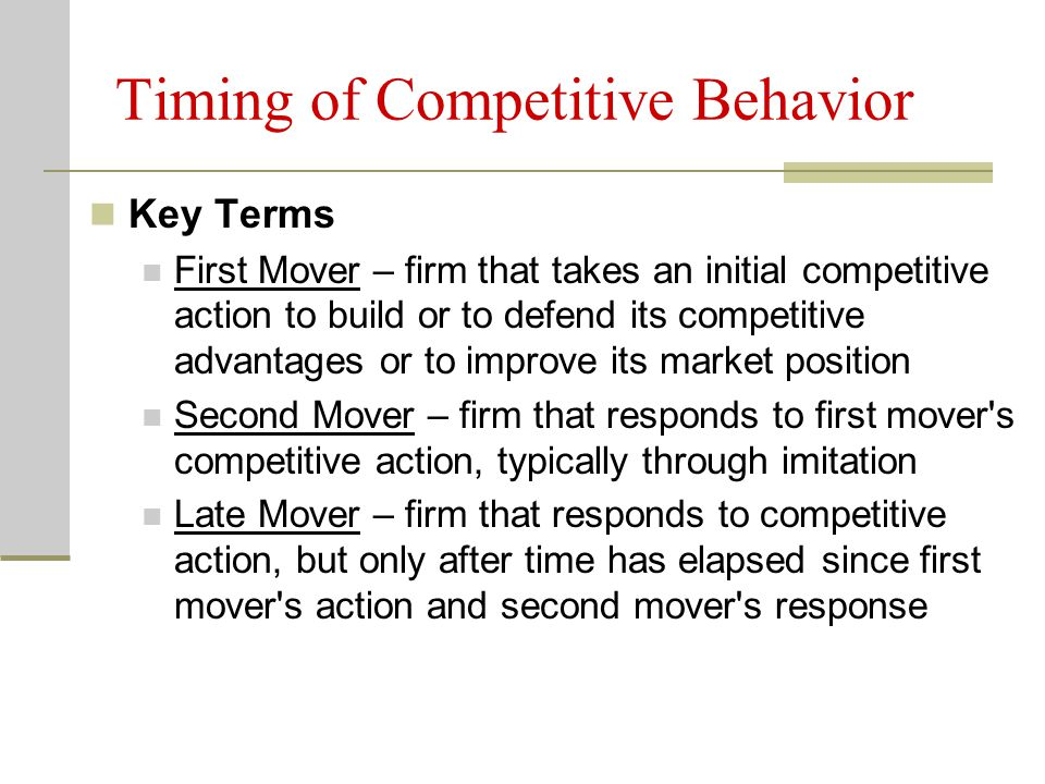 Timing of Competitive Behavior