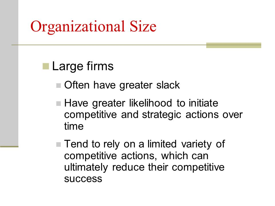 Organizational Size Large firms Often have greater slack