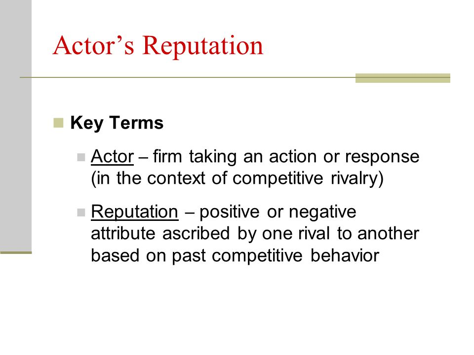 Actor's Reputation Key Terms