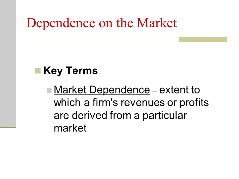 Dependence on the Market