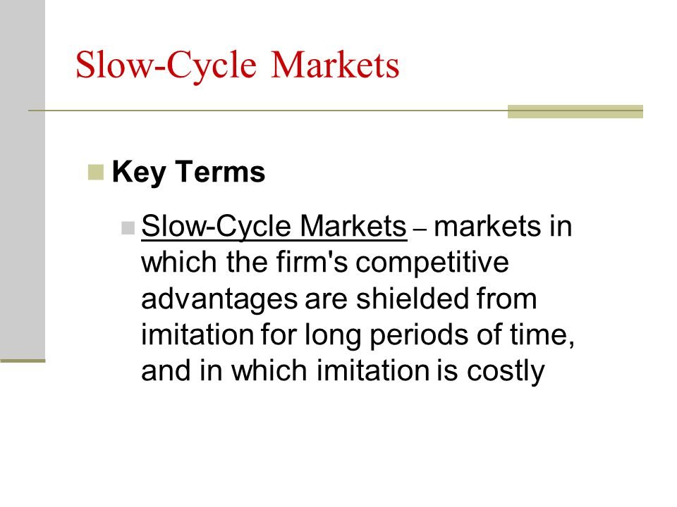 Slow-Cycle Markets Key Terms