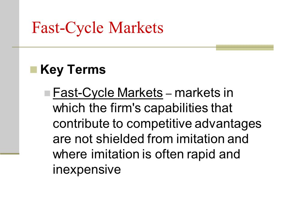Fast-Cycle Markets Key Terms