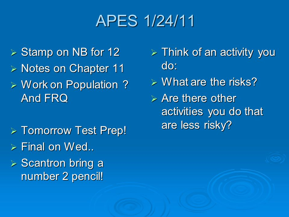APES 1/24/11 Stamp on NB for 12 Notes on Chapter 11