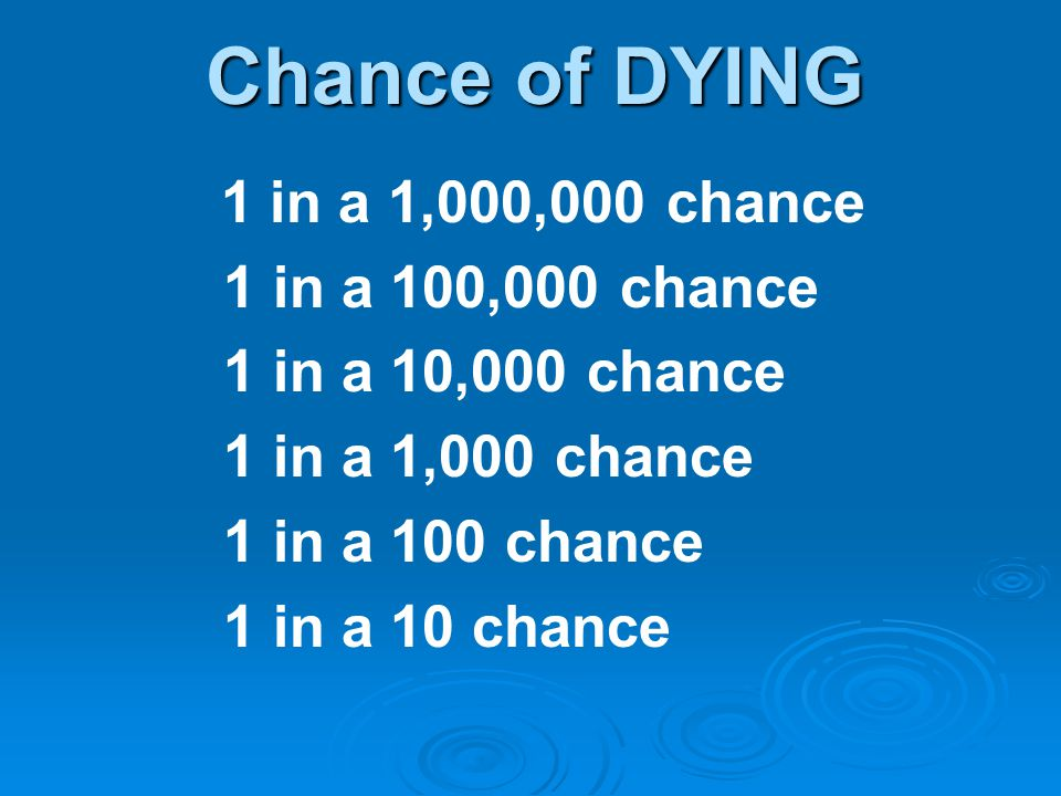 Chance of DYING 1 in a 100,000 chance 1 in a 10,000 chance