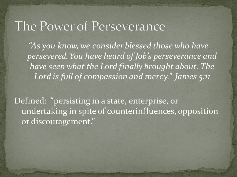 The Power of Perseverance