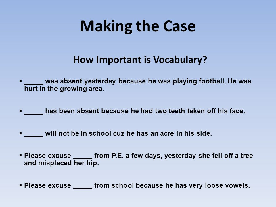 How Important is Vocabulary