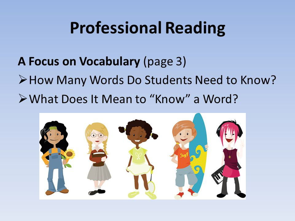 Professional Reading A Focus on Vocabulary (page 3)