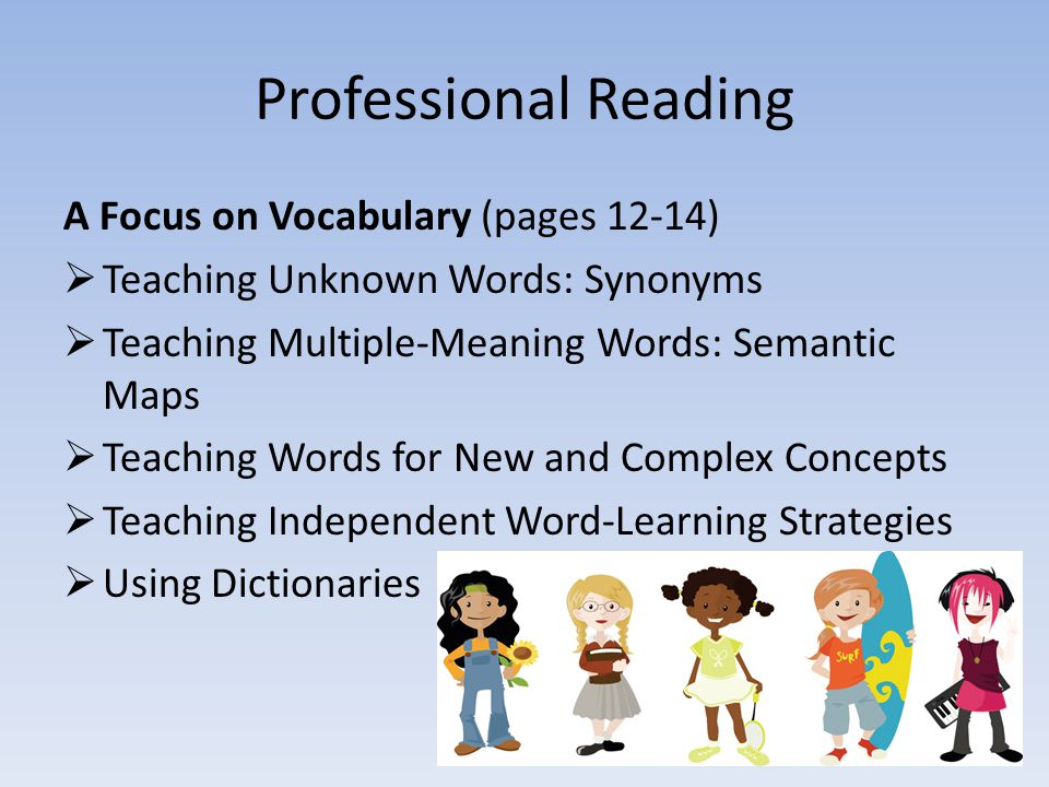 Professional Reading A Focus on Vocabulary (pages 12-14)