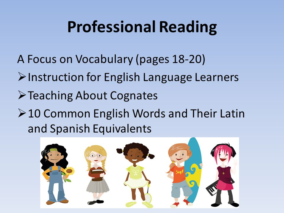 Professional Reading A Focus on Vocabulary (pages 18-20)